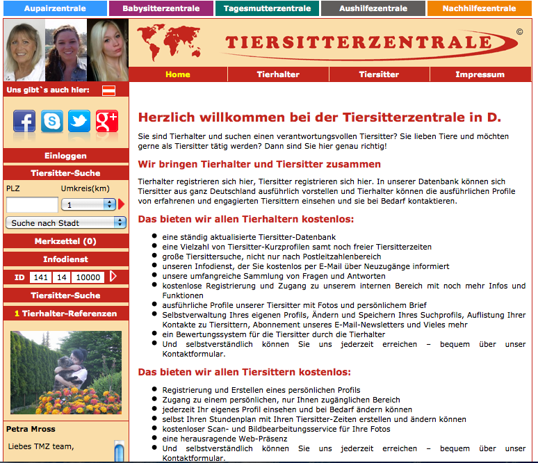 Tiersitterzentrale - Screenshot