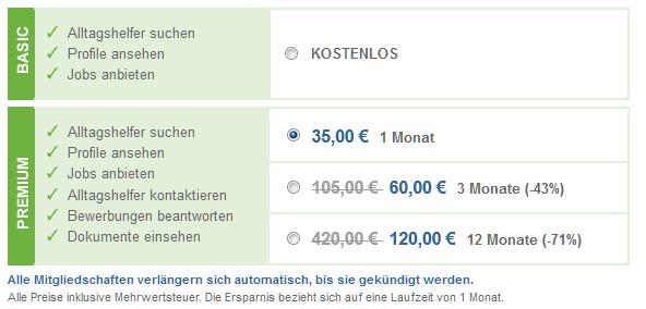 Betreut.de - Preise